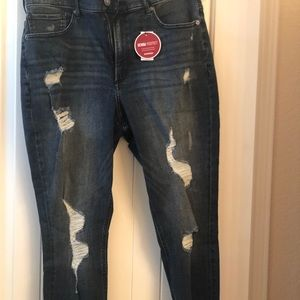 Brand new Express frayed edge stretch jeans